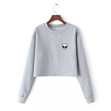 Women Clothing Feminina Loose Short Fleece Jumper Sweats Embroidery ET Aliens Hoodies Sweatshirts harajuku Crew Neck Sweats