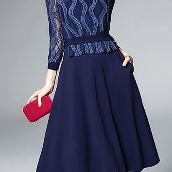 Midi Dress A-line Daytime Dress Casual Lace Paneled Prom Dresses