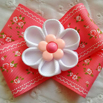 Cute Coral Rose Handmade Kanzashi Flower Hair Bow ~ Unique Birthday, Back to School Gift for Girls