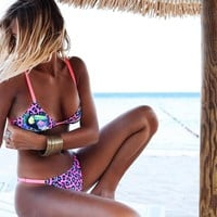 Hot Summer Beach Swimsuit New Arrival Swimwear Ladies Sexy Pale Violet Leopard Bikini [138758553615]