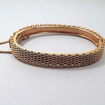 Vintage Hinged Bangle Bracelet, Gold Tone Woven Design with Safety Chain, Mid Century 1960s 60s