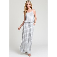 Casual Striped Maxi Dress - Gray and Ivory