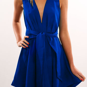 Royal Blue Plunging Tie-Waist Assymetric Dress