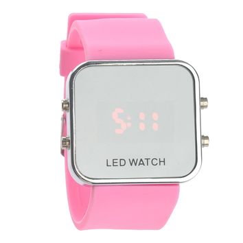 Fashion Square Mirror Face Unisex Red LED Digital Wrist Watch with Date & Silicone Band