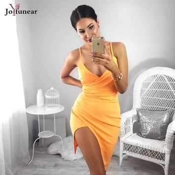 Joyfunear Kylie Jenner tangerine sexy Women dress Sleeveless sling Bodycon dress Evening Party  Asymmetric folds Bandage Dress
