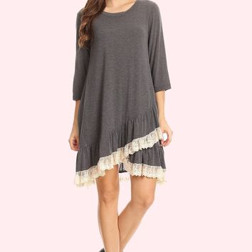 Lace Ruffle Accent Tunic Dress - Dark Grey