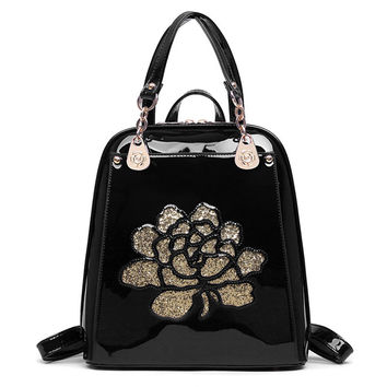 Floral Patent Leather Backpack