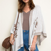 Tribal Knit Poncho - Cream/Mocha