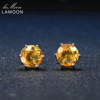 Lamoon 7mm 1.2ct Round Natural Citrine 925 Sterling Silver Simple Stud Earrings Jewelry 18K Rose Gold S925 For Women LMEI027