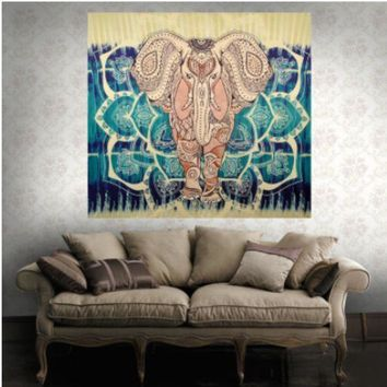CREYXF7 New Bohemian Elephant Totem Home Tapestry Wall Mural Beach Towel Beach blanket
