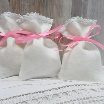 Set of 40 bags 3 1/2 x 5 Linen Gift Bags with lace. 100% pure linen. Lace favor bags 40 Christening favors pink ribbon