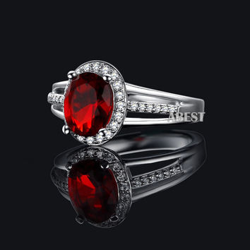 Red 7 Luxury 2 carat Simulated Diamond Rings for Women Oval Shape Sterling Silver Engagement Rings Red Ruby Sona Wedding Bridal Ring