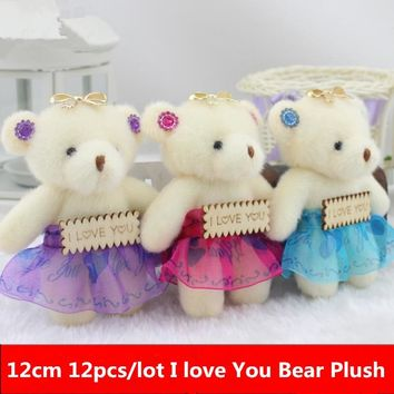 12cm 12pcs/lot Kid Toys Plush Doll Mini Small Diamond Teddy Bear Stuffed Plush with Words Wedding Party Decor Flower Bouquet