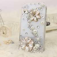 NOVA CASE 3D Bling Crystal iPhone Case for AT&T Verizon Sprint Apple iPhone 4/4S Flying Daisies
