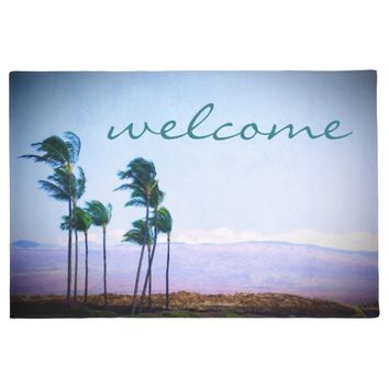 """Welcome"" Hawaii palm trees & hills photo doormat"