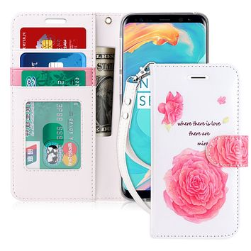Floral Pattern Design Credit Card Holder Case for Samsung Galaxy S9 Plus
