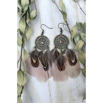 Brown Feather Earrings #H1030