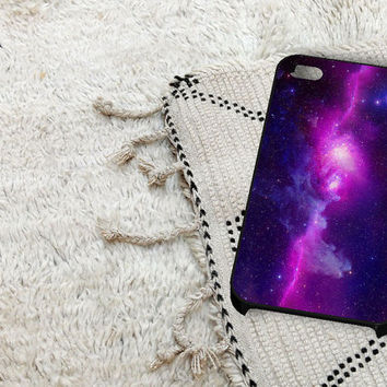 Purple Galaxy iPhone 5 iPhone 4 / 4S Plastic Hard Case Soft Rubber Case