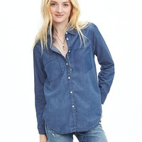 Banana Republic Womens Soft Wash Denim Boyfriend Shirt