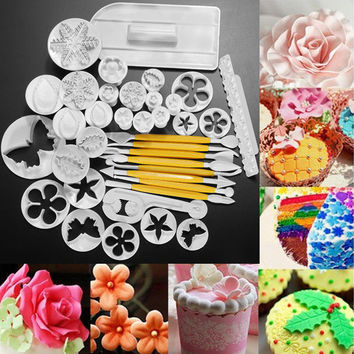 37pcs Fondant Cake Decorating Tools Cookie Sugar Craft Decorate Plunger Cutters