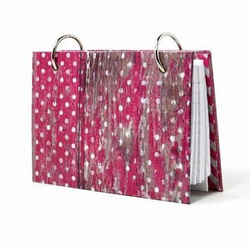 3 x 5 index card binder, raspberry pink weather wood, polka dots and chevron zigzag, recipe binder, garden journal, with set of tab dividers