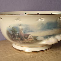 Lenox Thomas Kinkade Light in the Storm bowl Lighthouse Religious decor