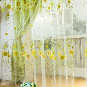 Factory Price Fashion Decor Window Floral Tulle Voile Window Curtain Drape Panel Sheer Scarf Valances