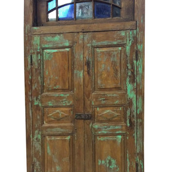 Antique Doors // architectural Rajasthani terrace Doors //  warm teak patina with hints of green // Indian Furniture