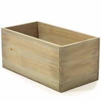 """Natural Wooden Planter Box with Liner - 9.5"""" L x 4.5"""" W x 4.5"""" H"""