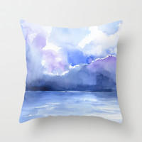Stormy Ocean Watercolor Throw Pillow by Susan Windsor