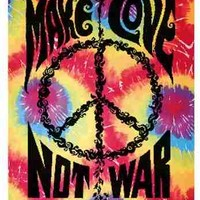 Make Love Not War Tie Dye Tapestry