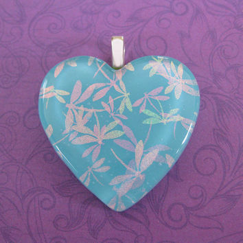 Heart Pendant, Dichroic Dragonflies on Blue Pendant, Heart Jewelry - Flight of the Dragonflies - 4633 -4
