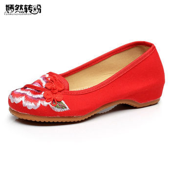 Flat Shoes Women Ballerinas Dance Embroidery Shoes Old Beijing Black Red Cloth Shoes Platform Canvas Walking Casual Flats