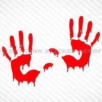 (x2) Bloody Hand Prints Vinyl Decal Sticker For Car Truck Walking Dead Zombie gm