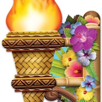 3-D Tiki Wall Torch with Flame - CASE OF 12