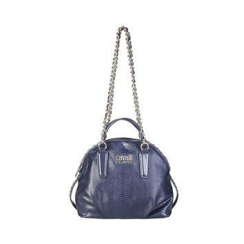 Cavalli Class Blue Synthetic Leather Studs Shoulder Bag