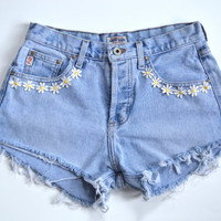 Vintage Floral GUESS High waisted denim shorts with Daisies