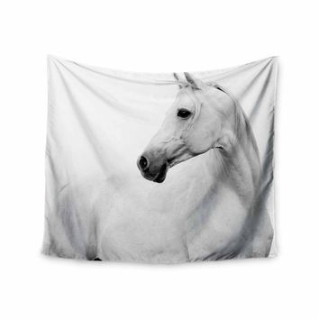 Pale Horse - White Black Animals Photography Wall Tapestry