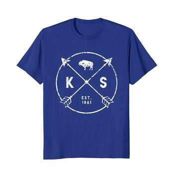 Kansas Adventure Shirt- Est 1861 Buffalo Arrows Tribal State