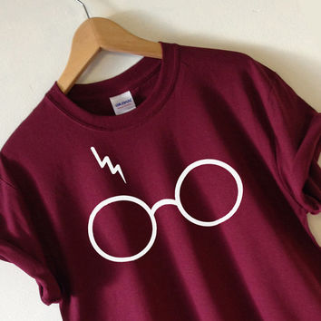 Harry Potter T-shirt Lightning Glasses T-shirt Shirt Tee High Quality SCREEN PRINT Super Soft unisex Worldwide ship