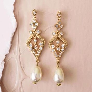 Vintage Art Deco Crystal Bridal Earrings in Gold with Swarovski Pearl Drop