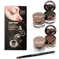 4 in 1 Eye Makeup Set Gel Eyeliner Brown + Black Eyebrow Powder Brown + Black Make Up Waterproof and Smudge-proof Eye Liner Kit