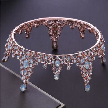 Baroque Queen King Tiara Crown Bridal Wedding headdress Opal Rose Gold Color Tiaras and Crown Wedding Dress Hair Accessories