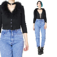 1990s Cropped Black Cardigan Marabou Feather Trim Sweater Top Black Ribbed Knit Top Button Up Sexy Cardigan Goth Grunge Club Kid (XS/S)