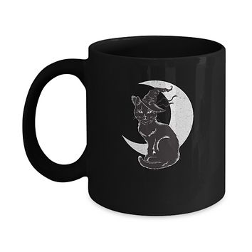 Vintage Scary Halloween Black Cat Costume Witch Hat Moon Mug