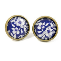Blue Floral Earring Studs - Blue Earring Posts - Navy Blue - Monaco Blue - Gift for her - Under 20 25