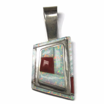 Vintage Navajo Cobble Inlay Opal Coral Pendant Louise Clark
