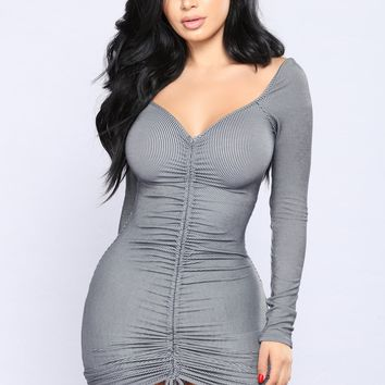 Xi'An Ruched Dress - Charcoal