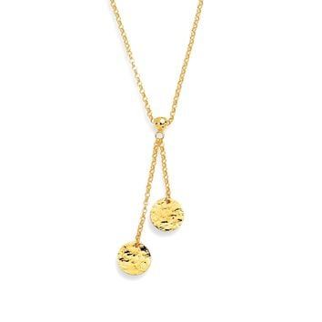 14k Yellow Gold Lariet Hammered Disc Necklace, 17""