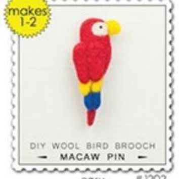 Woolpets Macaw Parrot Brooch Pin Wool Needle Felting Craft Kit